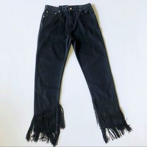 Zara Woman Vintage High Rise Fringe Jeans